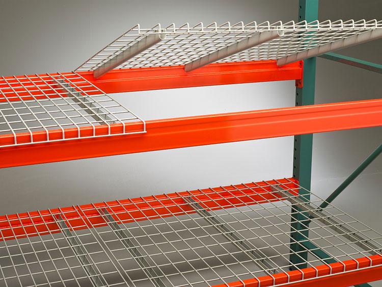 Wire decking for 3 depth storage rack