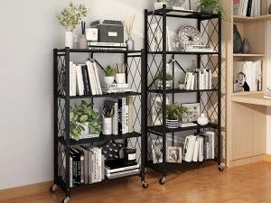 Multipurpose Foldable Metal Shelving Storage Organizer with Wheels for Home Kitchen & Office Use