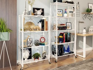 Movable Folding Metal Storage Kitchen Rack Shel...