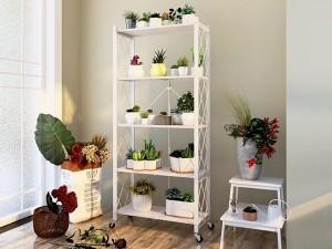 Movable Folding Metal Storage Kitchen Rack Shelf Bookshelf