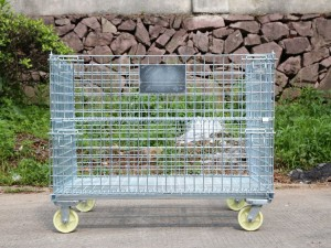 Collapsible Wire Mesh Storage Container with Wheel