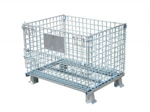 Steel Folding Wire Container for Industrial Warehouse